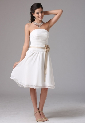 Simple Empire Strapless Bridesmaid Dress With Sash Ruched Decorate Bust Knee-length