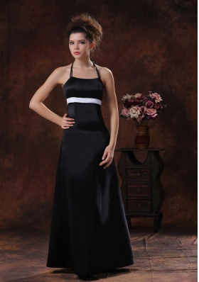 Taffeta Black Halter Column  Floor-length 2013 Bridesmaid Dress