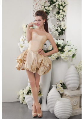 Champagne A-Line / Princess Spaghetti Straps Short Taffeta Bow Bridesmaid Dress