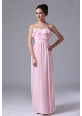 Halter Pink Chiffon Column 2013 Bridesmaid Dress With Ruched