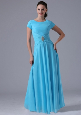 Aqua Blue Scoop Bridesmaid Dress With Beading