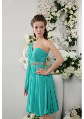Turquoise Empire One Shoulder Knee-lengtht Chiffon Beading Bridesmaid Dress