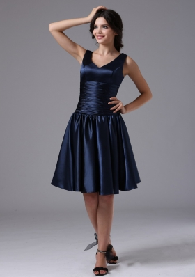 V-neck Empire and Ruch For Navy Blue Bridesmaid Dress