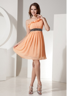 Orange Chiffon One Shoulder Dress With Mini-length Beaded Decorate Waist
