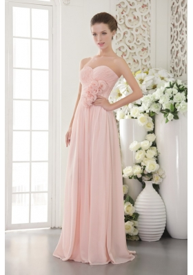 Pink Empire Sweetheart Floor-length Chiffon 3D Flower Prom / Evening Dress