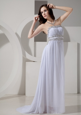 2013 New Style Empire Strapless Beaded Decorate Waist Sweep Train Sexy Prom Gowns