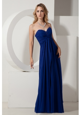 Royal Blue Empire Sweetheart Beading Prom / Evening Dress Floor-length Chiffon