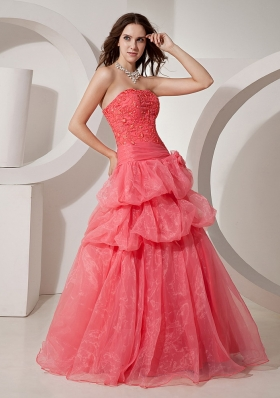Organza Coral Red For 2013 Prom Dress In Penrith NSW With Embroidery Bodice and Hand Made Flowers