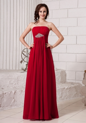 Wine Red Empire Strapless Beaded Chiffon Custom Made Prom Gowns