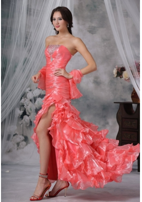 Beaded Decorate Bust Ruched Decorate Up Bodice Ruffles Watermelon Red High Slit Brush Train For 2013 Prom / Evening Dress