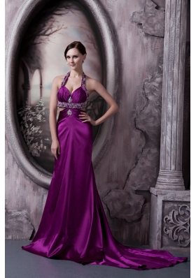 Eggplant Purple Column Halter Court Train Silk Like Satin Beading Prom Dress