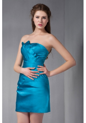 Column Strapless Mini-length Taffeta Ruch Prom Dress