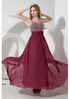 Empire Straps Ankle-length Chiffon Beading Prom Dress