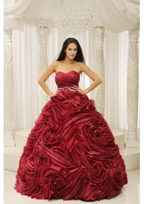 Sweetheart Neckline Beaded Decorate Wasit Hand Made Flower A-line 2013 Quinceanera Dress For Formal Evening