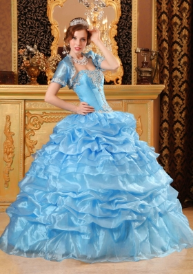 Baby Blue Ball Gown Sweetheart Floor-length Organza Appliques Quinceanera Dress