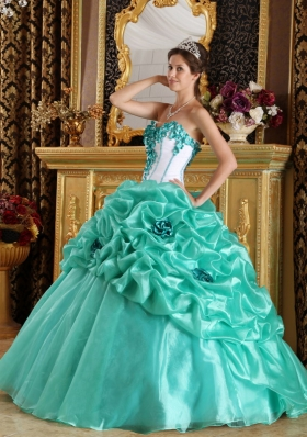 Sweetheart Ball Gown Floor-length Organza Hand Made Flowers Quinceanera Dress
