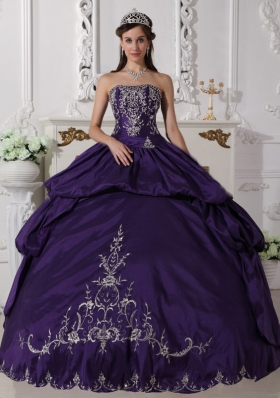 Ball Gown Strapless Floor-length Taffeta Embroidery Quinceanera Dress