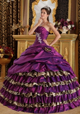 Purple Ball Gown One Shoulder Floor-length Taffeta and Leopard Appliques Quinceanera Dress