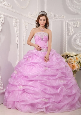 Exclusive Ball Gown Strapless Floor-length Organza Appliques Quinceanera Dress