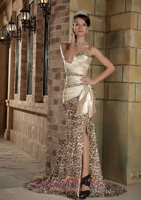 Celebrity Champagne Column Sweetheart Brush Train Taffeta and Leopard Beading Prom Dress