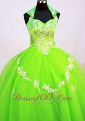 Fashionable Little Girl Pageant Dresses With Halter Top and Spring Green  Pageant Dresses
