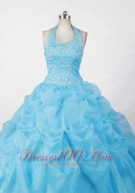 Halter and Baby Blue For Appliques Little Girl Pageant Dresses  Pageant Dresses