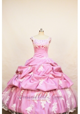 Rose Pink Little Girl Pageant Dresses With Appliques Pick-ups and Scoop  Pageant Dresses