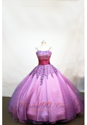Lovely Purple Little Girl Pageant Dresses With Appliques and Straps  Pageant Dresses