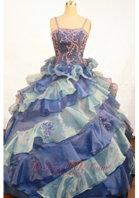 Exquisite Appliques Ruffles Ball Gown Straps Floor-length Little Girl Pageant Dress  Pageant Dresses