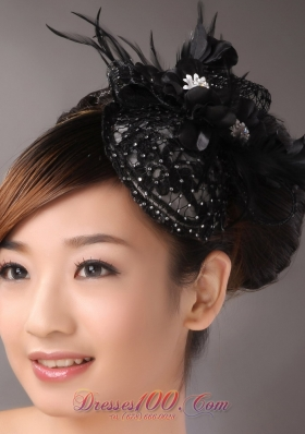 Black Lace and Feather Headpices With Imitation Beading Decorate For Party