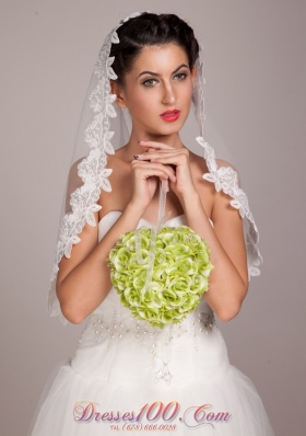 Lovely Green Spherical Wedding Bridal Bouquet With Pearl