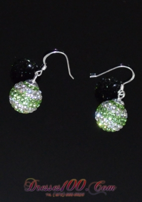 Spring Green and White Round Lovely Rhinestone Earrings