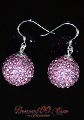 Round Baby Pink Luxurious Rhinestone Earrings