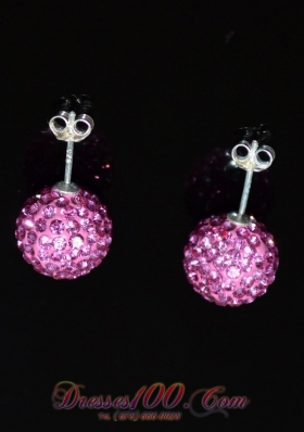 Round Discount Rhinestone Baby Pink Earrings