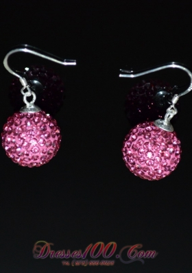 Cheap Rose Pink Rhinestone Round Earrings