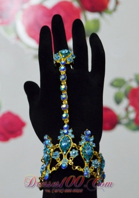 Charming Blue and Gold Bracelet And Ring