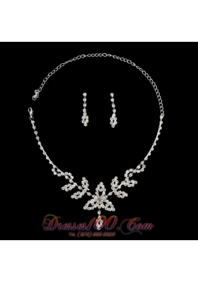 Lovely Alloy With Rhinestone Women's Jewelry Set Including Necklace And Earrings
