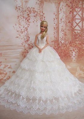 Exquisite Wedding Dress To Barbie Doll Dress With Lace