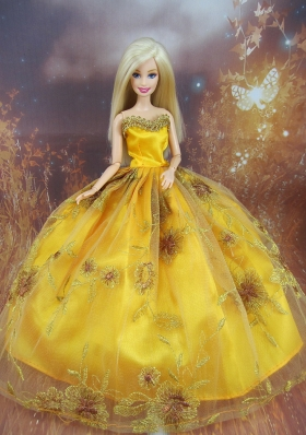 Beading Decorate Ball Gown Gold Barbie Doll Dress Us 70 65