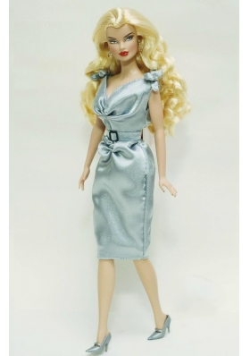 Light Blue and Belt Decorate Barbie Doll Dress
