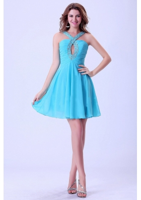 V-neck Beaded Aqua Blue Prom Dress With Mini-length For Club