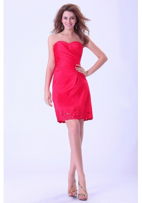 Coral Red Prom Dress Sweetheart Mini-length For Club