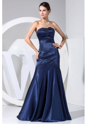 Appliques With Beading Decorate Bodice Navy Blue Floor-length Strapless Prom Dress 2013