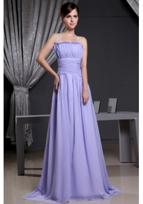 Straps Lilac For Custom Made Prom Dress With Chiffon