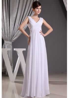 White V-neck Beading and Ruch For Prom Dress