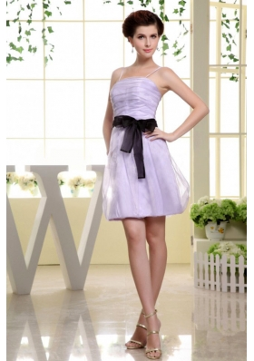 Spaghetti Straps and Sash For Short Lilac Prom Dress