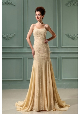 Beading Mermaid Chiffon Sweetheart Court Train Prom Dress Champagne