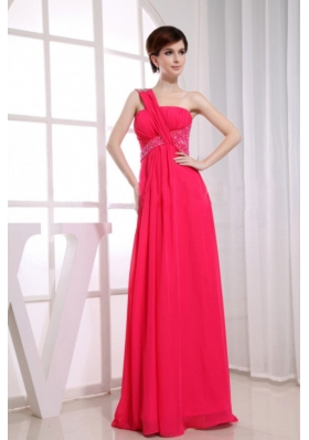 Beading One Shoulder Chiffon Coral Red Empire Floor-length Prom Dress