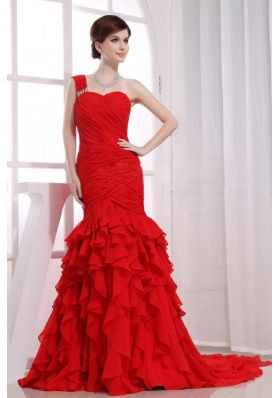 Mermaid Ruffles Chiffon Watteau Red One Shoulder Prom Dress
