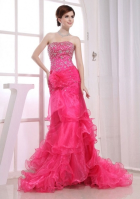 Mermaid Strapless Brush/Sweep Beading Organza Prom Dress Hot Pink